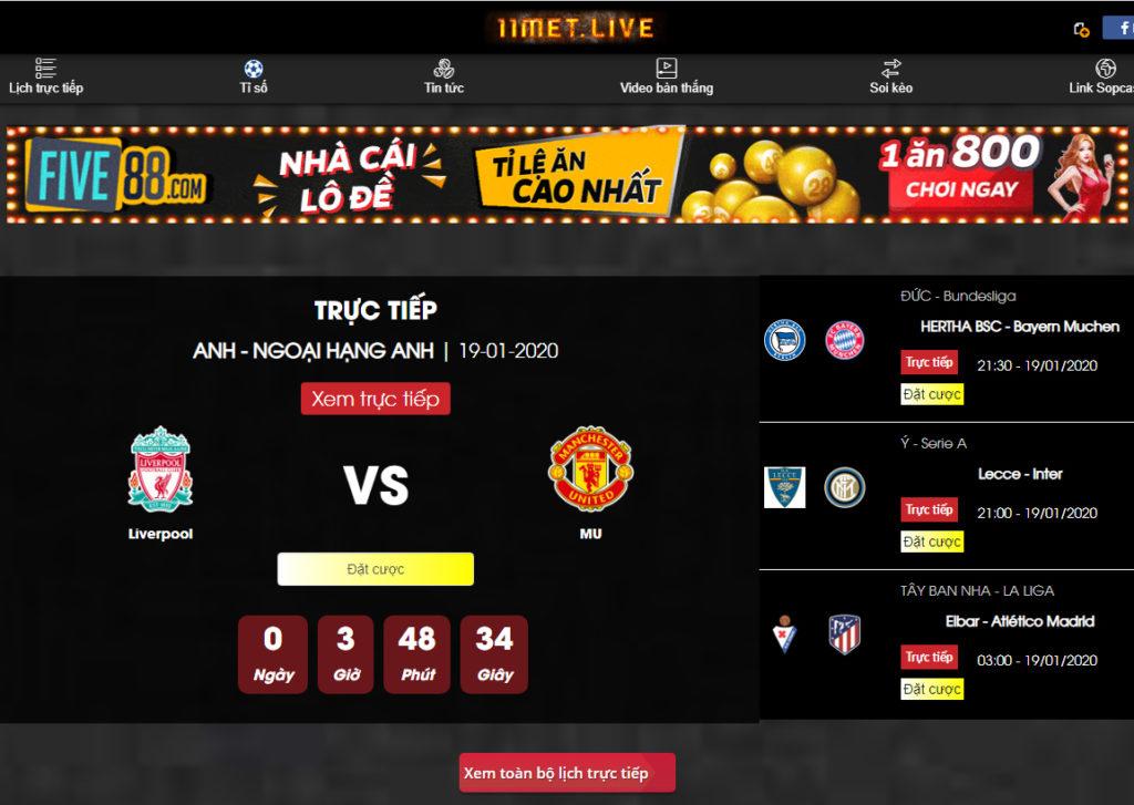 11met TV - Website xem bóng đá trực tuyến chất lượng cao
