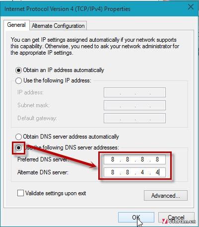 Đổi DNS nếu không truy cập được vào K+ pm online