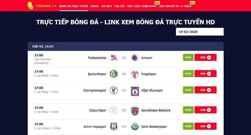Lịch thi đấu và link xem bóng đá trên thevangTV