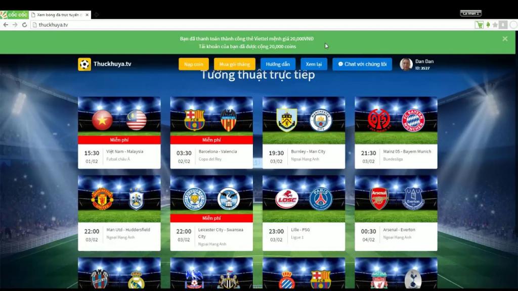 Thuckhuya TV cập nhật đầy đủ các giải đấu bóng đá