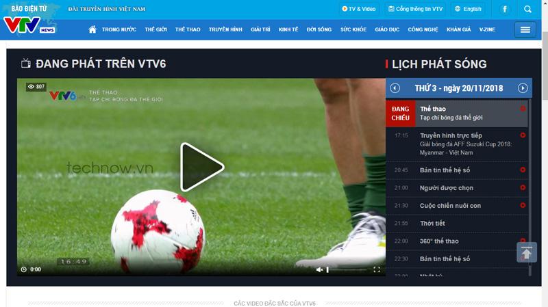 Xem trực tiếp bóng đá trên VTV6 tại website