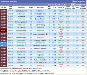 Phong độ thi đấu gần đây của Hoffenheim
