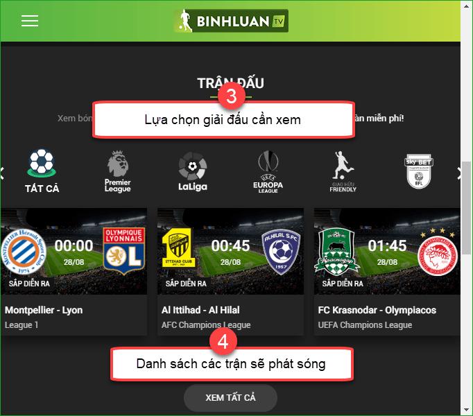 Binhluan TV cập nhật hầu hết link xem các giải đấu