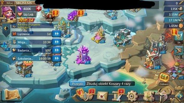 Nâng lực chiến đấu siêu nhanh trong Lord mobile bằng cách nâng tường thành