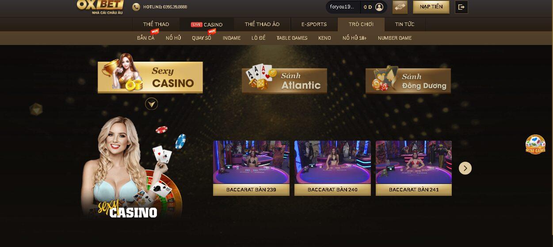 Các sản phẩm cá cược hàng đầu tại OXBET casino online