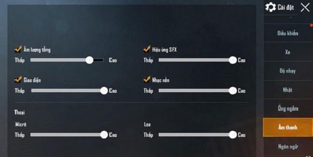 Cài đặt âm thanh khi chơi PUBG Mobile